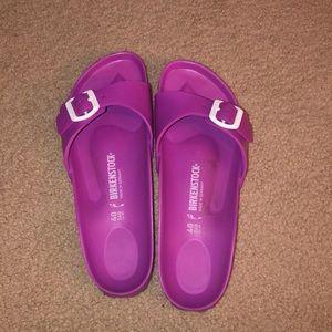 Birkenstock purple rubber slides